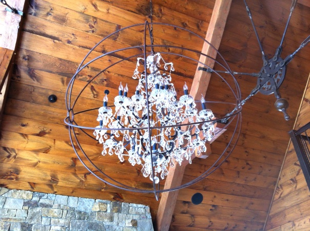A pimped out-chandelier hung from the high ceilings